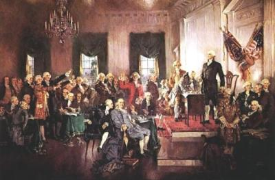 "Howard Chandler Christy, ""Scene at the Signing of the Constitution of the United States."" United States Senate, http://www.senate.gov/artandhistory/history/common/briefing/Constitution_Senate.htm."