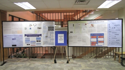 Chemistry department research posters, on display in the library