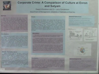 "Poster on ""Corporate Crime: A Comparison of Culture at Enron and Satyam"""