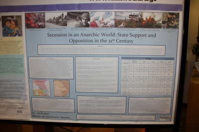 Secession in an Anarchic World: State Support and Opposition in the 21st Century. Sarah Kurz, student researcher. Dr. Christopher Stevens, faculty mentor, Department of Political Science.