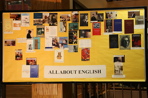 English Department display at library